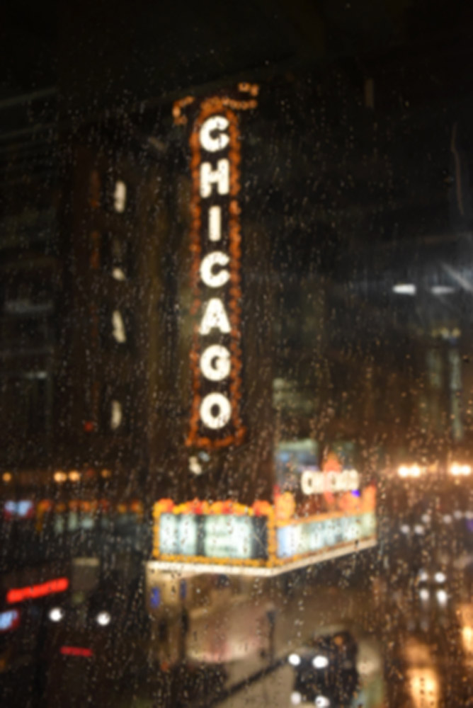 Theatre on State Street seen through the rain, 2016