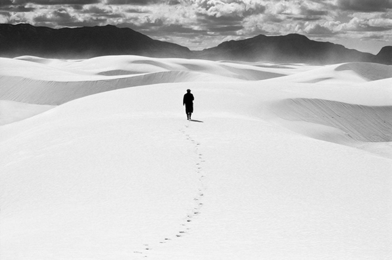 A walker at White Sands Desert National Park, 1988